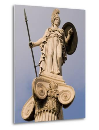 A Statue of Athena on a Column Outside the Academy of Athens-Richard Nowitz-Metal Print
