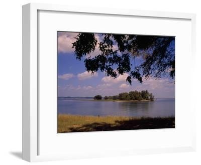 Small Island in Kentucky Lake Framed by Tree Branches-Raymond Gehman-Framed Photographic Print