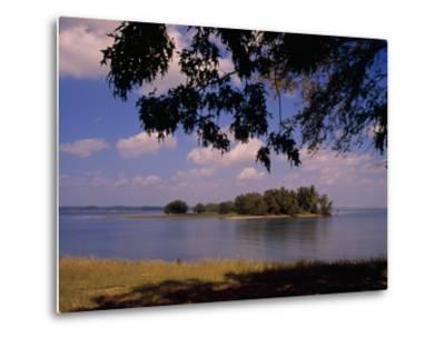 Small Island in Kentucky Lake Framed by Tree Branches-Raymond Gehman-Metal Print