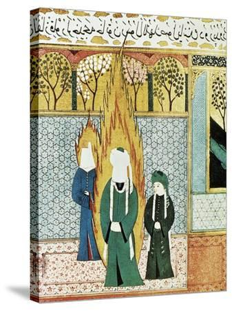 Muhammad Prays with Ali and Khadijah--Stretched Canvas Print