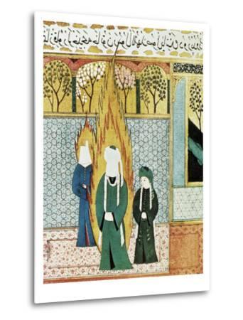 Muhammad Prays with Ali and Khadijah--Metal Print