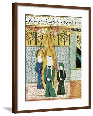 Muhammad Prays with Ali and Khadijah--Framed Art Print