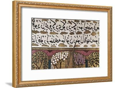 Detail of Arabian Writing in an Ottoman Illuminated Manuscript About Muhammad's Life (16th C)--Framed Art Print