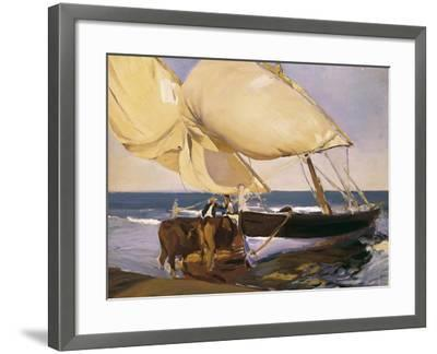 Launching the Boat-Joaqu?n Sorolla y Bastida-Framed Art Print