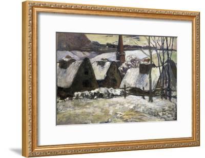 Breton Village in Snow-Paul Gauguin-Framed Art Print