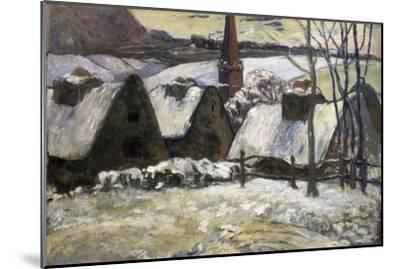 Breton Village in Snow-Paul Gauguin-Mounted Art Print