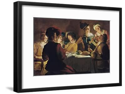 Supper with the Minstrel and His Lute-Gerrit van Honthorst-Framed Art Print