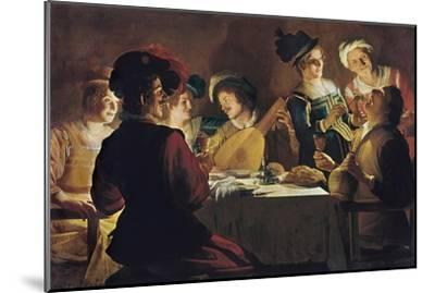 Supper with the Minstrel and His Lute-Gerrit van Honthorst-Mounted Art Print