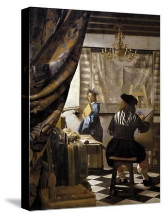 The Artists Studio or the Art of Painting-Johannes Vermeer-Stretched Canvas Print