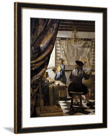 The Artists Studio or the Art of Painting-Johannes Vermeer-Framed Premium Giclee Print