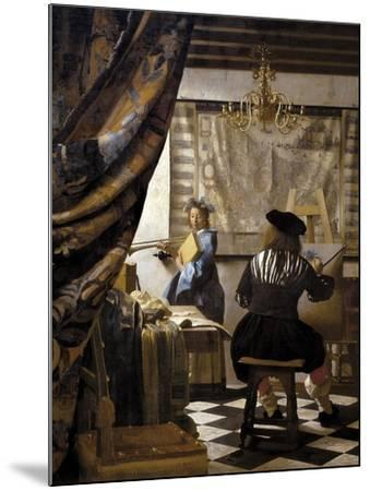 The Artists Studio or the Art of Painting-Johannes Vermeer-Mounted Premium Giclee Print