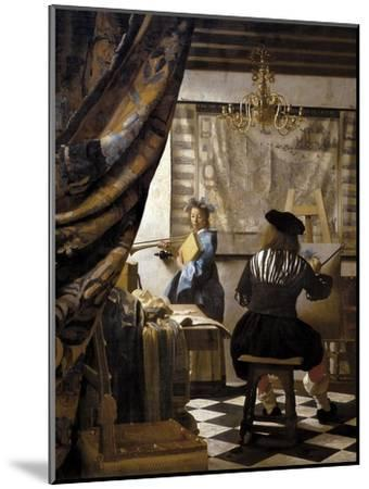 The Artists Studio or the Art of Painting-Johannes Vermeer-Mounted Art Print