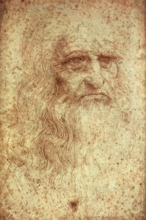 Self-Portrait-Leonardo da Vinci-Stretched Canvas Print