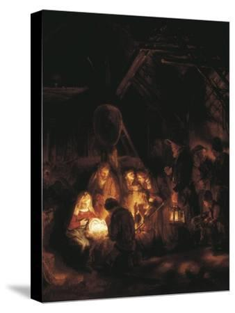 The Adoration of the Shepherds-Rembrandt van Rijn-Stretched Canvas Print