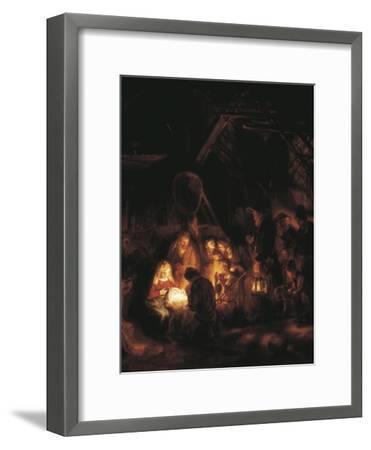 The Adoration of the Shepherds-Rembrandt van Rijn-Framed Art Print