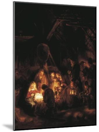 The Adoration of the Shepherds-Rembrandt van Rijn-Mounted Art Print