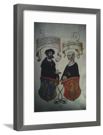 Georg Fugger and His Wife Regina Imhoff, from 'Geheim Ehrenbuch Des Fuggerschen Geschlechts'-German School-Framed Giclee Print