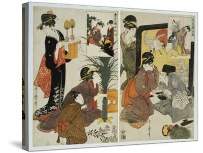 Two Scenes from the Series 'Loyal League' Depicting Everyday Life of an Edo Period Household-Kitagawa Utamaro-Stretched Canvas Print