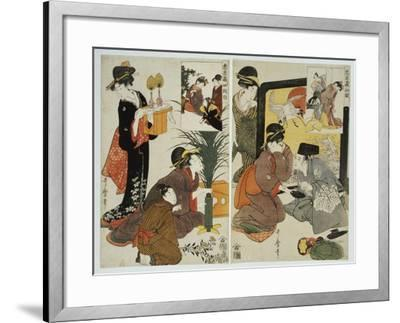 Two Scenes from the Series 'Loyal League' Depicting Everyday Life of an Edo Period Household-Kitagawa Utamaro-Framed Giclee Print