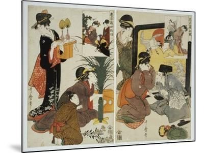 Two Scenes from the Series 'Loyal League' Depicting Everyday Life of an Edo Period Household-Kitagawa Utamaro-Mounted Giclee Print