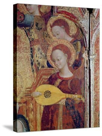 Detail of Angel Musicians from a Painting of the Virgin and Child Surrounded by Six Angels, 1437-44-Sassetta-Stretched Canvas Print