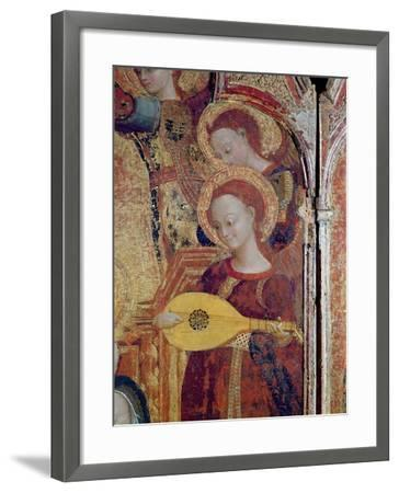 Detail of Angel Musicians from a Painting of the Virgin and Child Surrounded by Six Angels, 1437-44-Sassetta-Framed Giclee Print