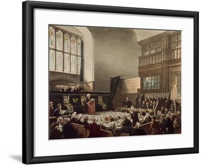 Court of Exchequer, Westminster Hall, from 'The Microcosm of London', Engraved by J. C. Stadler-Thomas Rowlandson-Framed Giclee Print