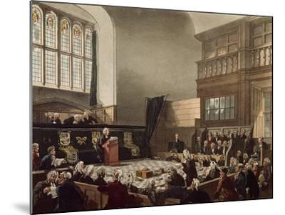 Court of Exchequer, Westminster Hall, from 'The Microcosm of London', Engraved by J. C. Stadler-Thomas Rowlandson-Mounted Giclee Print