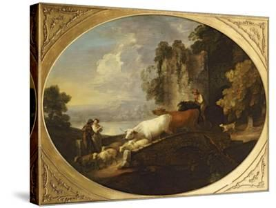 A River Landscape with Rustic Lovers, a Mounted Herdsman Driving Cattle and Sheep over a Bridge-Thomas Gainsborough-Stretched Canvas Print