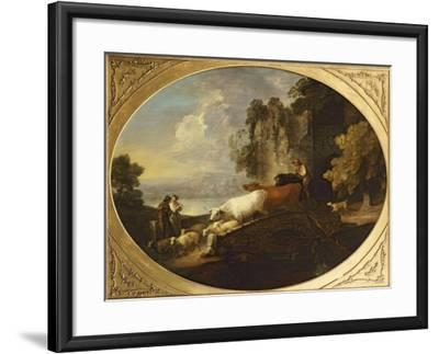 A River Landscape with Rustic Lovers, a Mounted Herdsman Driving Cattle and Sheep over a Bridge-Thomas Gainsborough-Framed Giclee Print