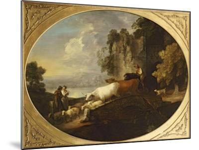 A River Landscape with Rustic Lovers, a Mounted Herdsman Driving Cattle and Sheep over a Bridge-Thomas Gainsborough-Mounted Giclee Print