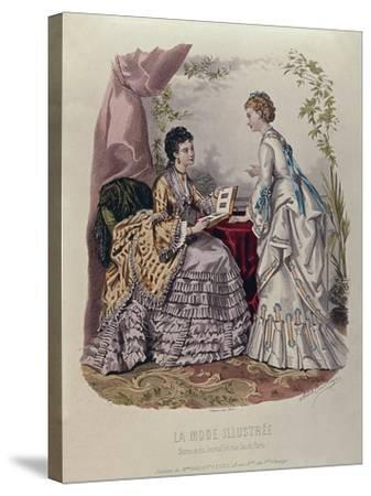 Fashion Plate Showing Ladies in Dresses Designed by Mme Breant-Castel and Looking at Photo Albums-French School-Stretched Canvas Print