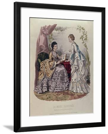 Fashion Plate Showing Ladies in Dresses Designed by Mme Breant-Castel and Looking at Photo Albums-French School-Framed Giclee Print