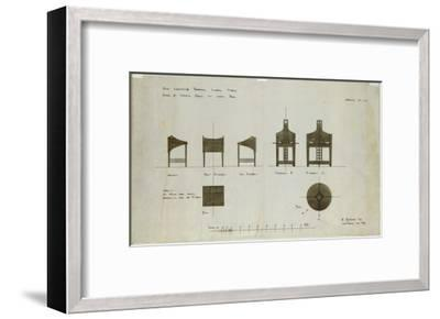 Designs for Writing Desks Shown in Front and Side Elevations, for the Ingram Street Tea Rooms, 1909-Charles Rennie Mackintosh-Framed Giclee Print