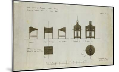Designs for Writing Desks Shown in Front and Side Elevations, for the Ingram Street Tea Rooms, 1909-Charles Rennie Mackintosh-Mounted Giclee Print