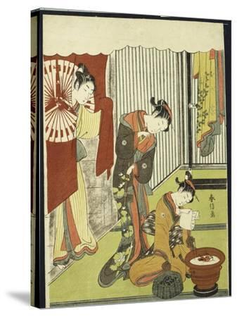 Figures in an Interior, a Courtesan Looking at Her Shinzo Who Is Reading a Love Letter-Suzuki Harunobu-Stretched Canvas Print