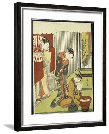 Figures in an Interior, a Courtesan Looking at Her Shinzo Who Is Reading a Love Letter-Suzuki Harunobu-Framed Giclee Print