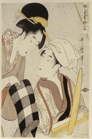A Half Length Portrait of Two Women, from the Series 'Twelve Forms of Women's Handiwork'-Kitagawa Utamaro-Stretched Canvas Print