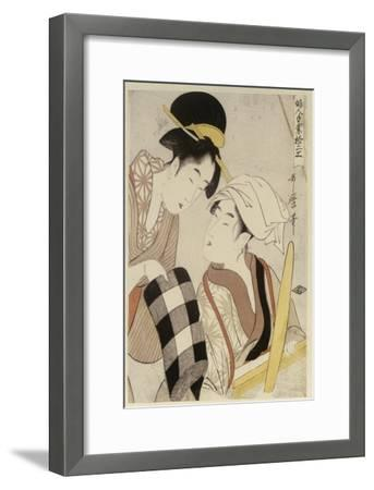 A Half Length Portrait of Two Women, from the Series 'Twelve Forms of Women's Handiwork'-Kitagawa Utamaro-Framed Giclee Print