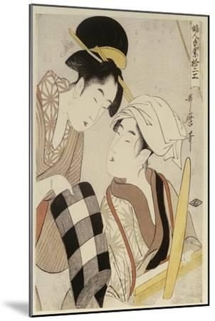 A Half Length Portrait of Two Women, from the Series 'Twelve Forms of Women's Handiwork'-Kitagawa Utamaro-Mounted Giclee Print
