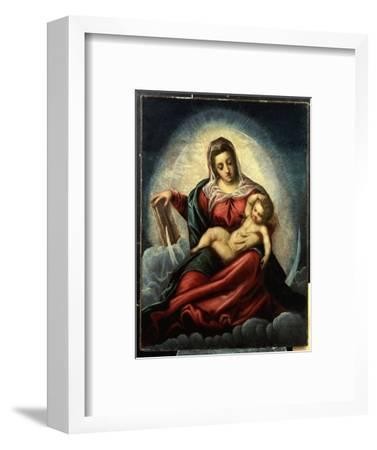The Madonna and Child in a Mandorla on a Crescent Moon and Clouds, with the Book of Wisdom-Jacopo Robusti Tintoretto-Framed Giclee Print