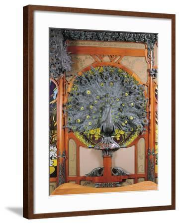 A Peacock, from the Central Panel of a Mural from the Fouquet Jewellers in Paris, 1901-Alphonse Mucha-Framed Giclee Print