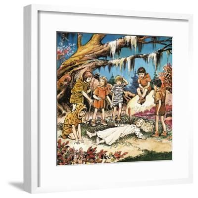 The Lost Boys' Concern for Injured Wendy, Illustration from 'Peter Pan' by J.M. Barrie-Nadir Quinto-Framed Giclee Print