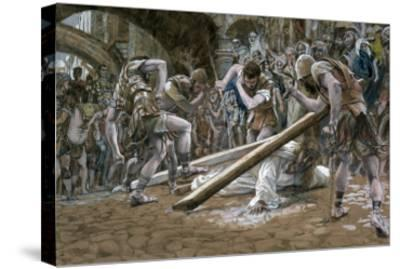 Christ Falls Beneath the Cross, Illustration for 'The Life of Christ', C.1884-96-James Tissot-Stretched Canvas Print
