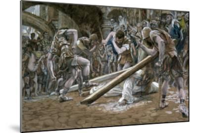Christ Falls Beneath the Cross, Illustration for 'The Life of Christ', C.1884-96-James Tissot-Mounted Giclee Print