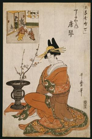 The Courtesan, Karakoto of the Chojiya, Seated by an Arrangement of Plum Flowers-Kitagawa Utamaro-Stretched Canvas Print