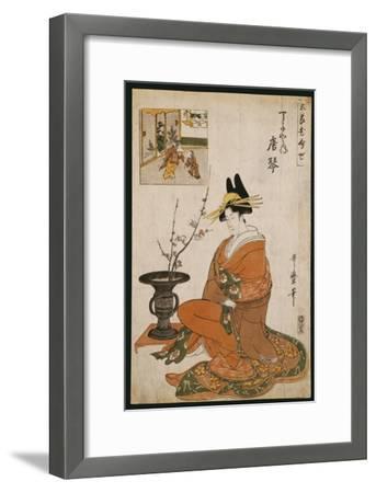The Courtesan, Karakoto of the Chojiya, Seated by an Arrangement of Plum Flowers-Kitagawa Utamaro-Framed Giclee Print