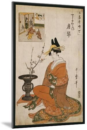 The Courtesan, Karakoto of the Chojiya, Seated by an Arrangement of Plum Flowers-Kitagawa Utamaro-Mounted Giclee Print