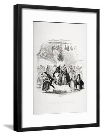 Christmas Eve at Mr. Wardle's, Illustration from `The Pickwick Papers' by Charles Dickens-Hablot Knight Browne-Framed Giclee Print