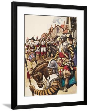 A Group of Pikemen of the New Model Army March into Battle Led by a Drummer-Peter Jackson-Framed Giclee Print